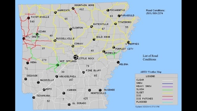 updated map of ar highway road conditions story nwahomepage