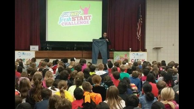 Subway's Jared Brings Big Pants, Positive Message to Local School