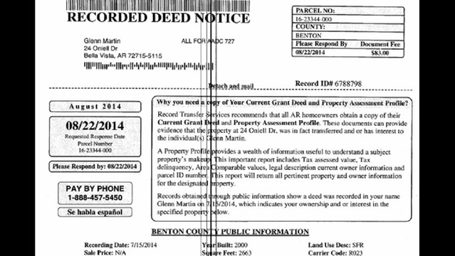 Benton County Circuit Clerk Warning About Deed Notices