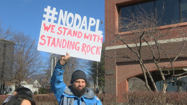 Small group protests Bank of America's funding of Dakota Access Pipeline