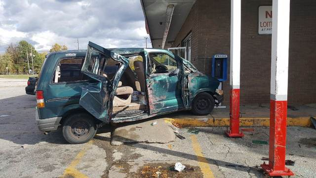 Minivan Nearly Hits Fayetteville Business After Hitting Another Vehicle