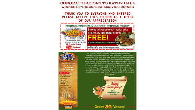 Kathy Hall AQ Turkey Dinner Giveaway Winner