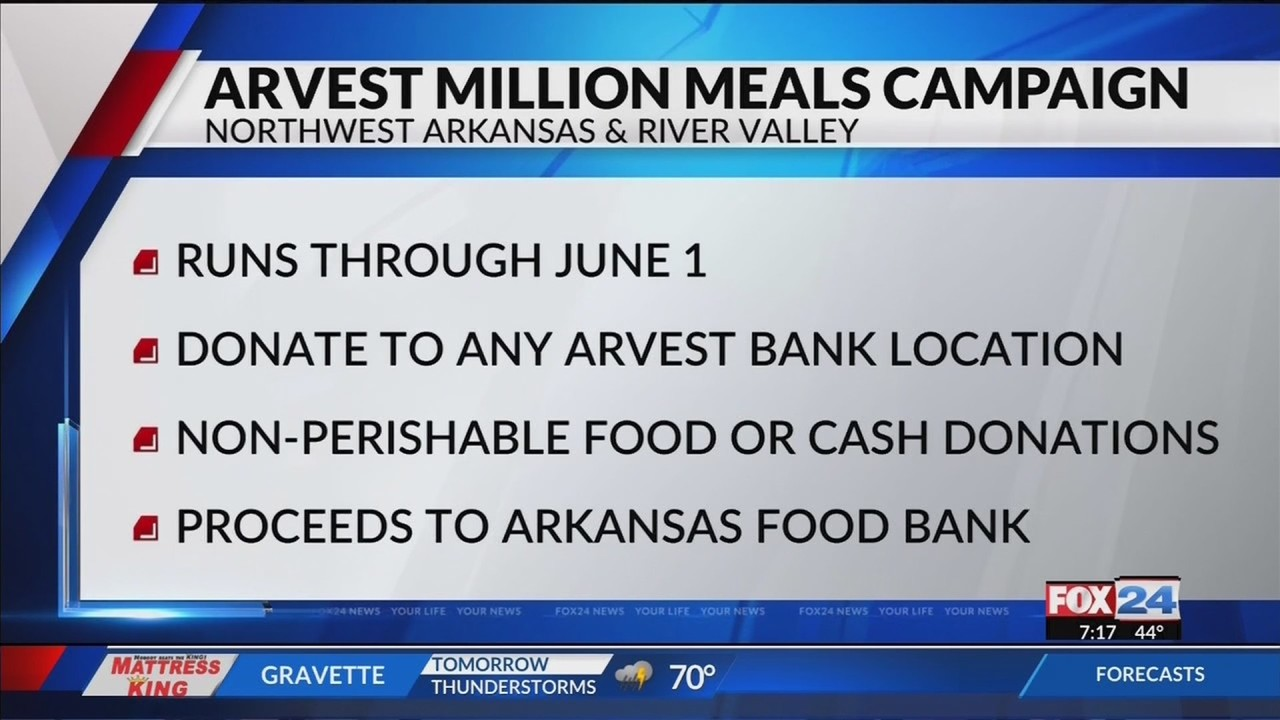Fox 24 News at 7: Arvest Bank Million Meals Campaign